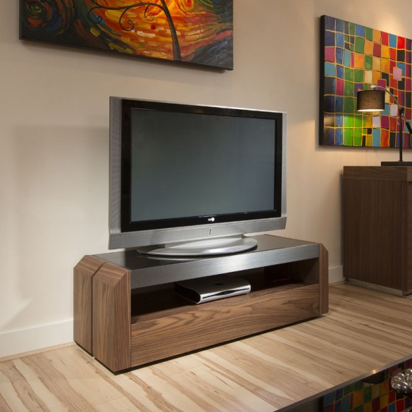 Walnut And Black Gloss Tv Units Regarding Widely Used Tv Stand / Cabinet / Unit Walnut, Black Glass Top, Alum  (View 15 of 20)