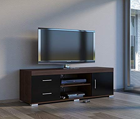 Walnut And Black Gloss Tv Units With Most Recently Released Walnut Effect Black Gloss Large Heavy Duty Tv Stand Unit 2 Drawers (Gallery 8 of 20)