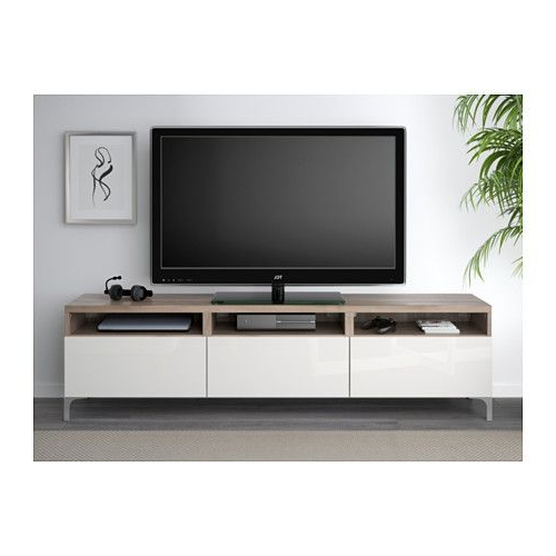 Walnut And Black Gloss Tv Units With Regard To Trendy Bestå Tv Unit With Drawers – Walnut Effect Light Gray/selsviken High (View 18 of 20)