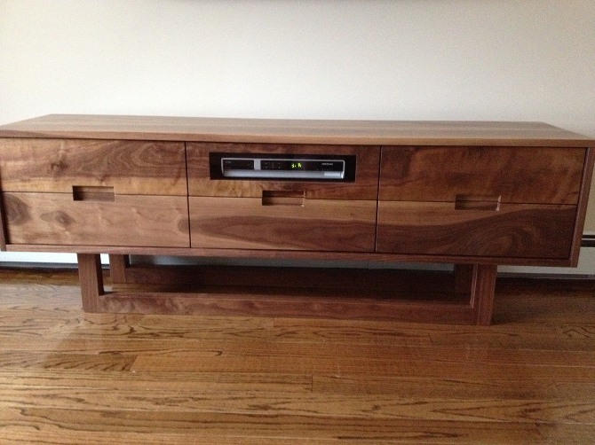 Walnut Tv Cabinets Inside Most Up To Date Tv Stand – Walnut Solid Wood – Kitchen & More, Inc (View 13 of 20)