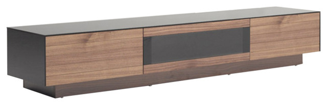 Walnut Tv Cabinets With Doors Regarding Well Known Modrest Darius Modern Walnut Tv Stand – Contemporary – Entertainment (View 13 of 20)