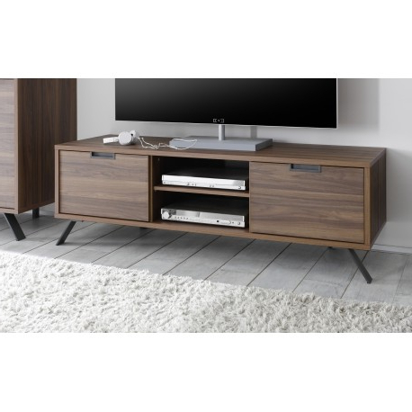 Walnut Tv Cabinets With Doors Within Most Recent Parma Dark Walnut Tv Stand – Tv Stands (1814) – Sena Home Furniture (Gallery 1 of 20)