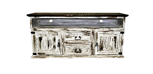 Well Known 2 Door 2 Drawer Tv Stand White Scraped Western Rustic Real Wood Throughout Rustic White Tv Stands (View 18 of 20)