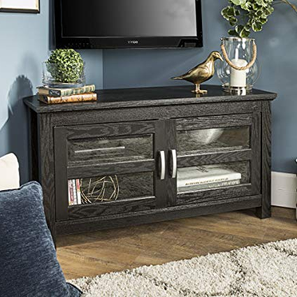 Well Known Amazon: New 44 Inch Wide Corner Tv Stand, Black Finish And Glass Regarding Corner Tv Cabinets With Glass Doors (View 15 of 20)