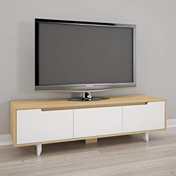 Well Known Amazon: Nexera 107039 Nordik 60 Inch Tv Stand, White And Natural Pertaining To Maple Wood Tv Stands (View 18 of 20)