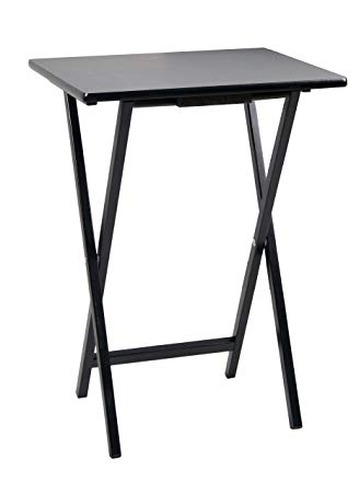 Well Known Amazon: Pj Wood Folding Tv Tray & Snack Table – Black: Kitchen Regarding Folding Tv Trays (View 8 of 20)