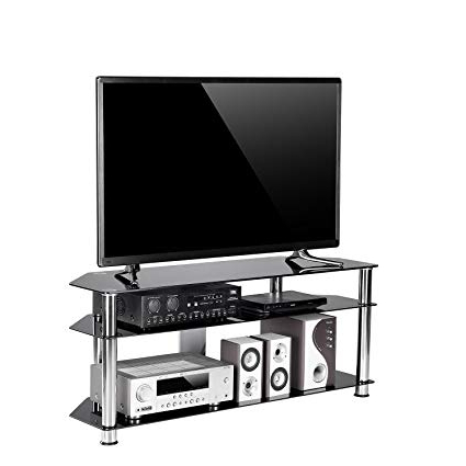 Well Known Amazon: Tavr Black Tempered Glass Corner Tv Stand Cable In Black Corner Tv Stands For Tvs Up To 60 (Gallery 4 of 20)