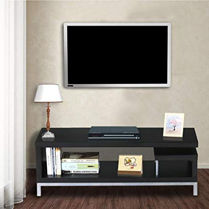 Well Known Amazon: Topeakmart Black Wood Open Design Media Console Tv Stand Inside Modern Tv Stands For Flat Screens (View 3 of 20)