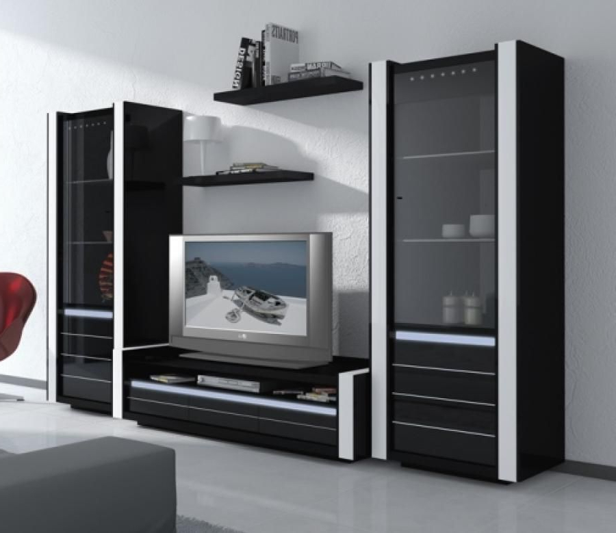 Well Known Avantgarde, Black Gloss Tv Wall Unit With Integral Light (View 19 of 20)
