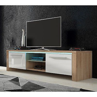 Well Known Beautiful New Gloss White & Oak Wood Tv Stand Unit Table Led Lights In White Wood Tv Stands (View 10 of 20)