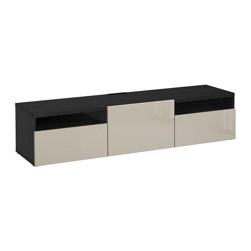 Well Known Black Gloss Tv Benches Inside Bestå Tv Bench – Black Brown/selsviken High Gloss/beige, Drawer (Gallery 20 of 20)