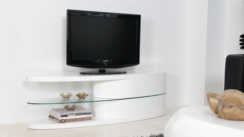 Well Known Black Gloss Tv Stands Inside Oval White Hi Gloss Tv Unit (View 19 of 20)