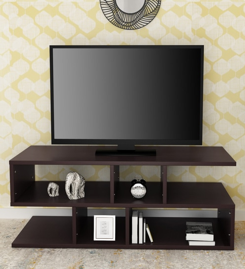 Well Known Buy Modern Z Shaped Tv Unit In Matte Brown Finishklaxon Online Within Modern Tv Units (View 2 of 20)