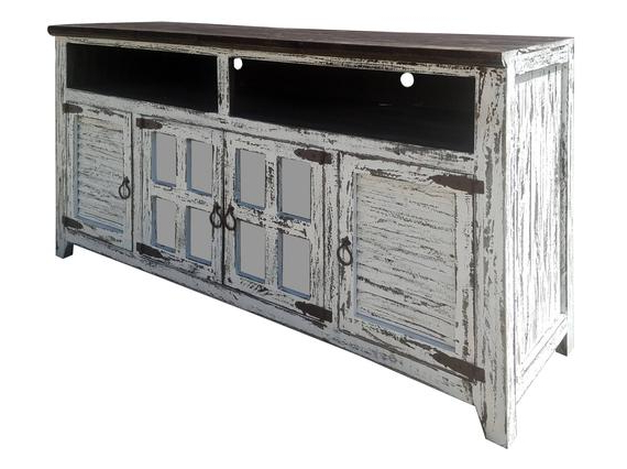 Well Known Cabana Door White Rustic Tv Stand Solid Wood Ships Assembled (View 16 of 20)