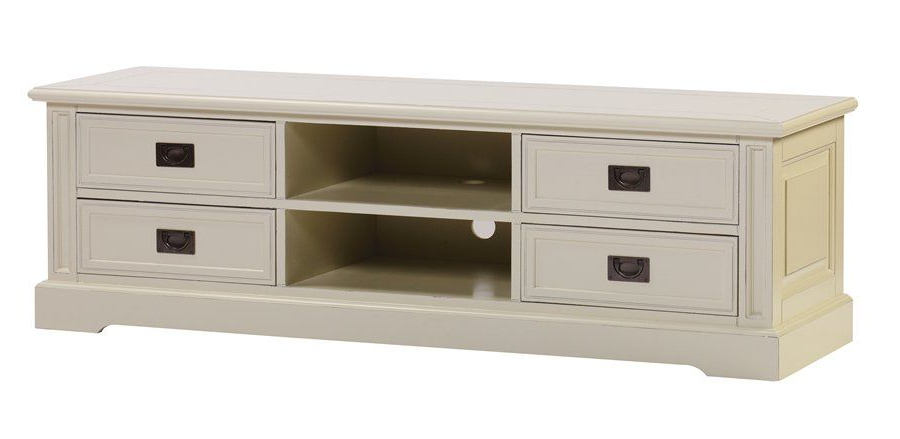 Well Known Classic Tv Cabinets With Regard To Bellahouse – Classic Tv Cabinet 166Cm 4 Drawer 2 Open (Antique Creme (View 19 of 20)
