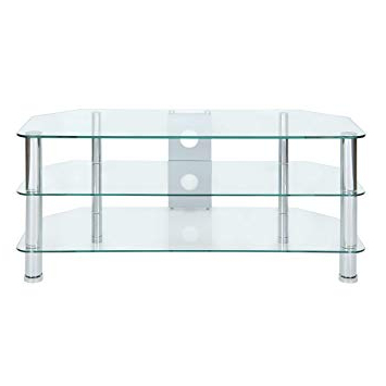 Well Known Clear Glass Tv Stand With Levv Clear Glass Tv Stand With Chrome Legs For Upto 50 Inch Lcd (View 7 of 20)