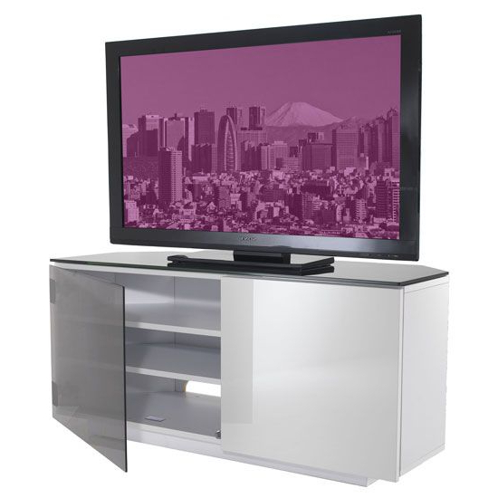 Well Known Corner Tv Cabinets With Glass Doors For Tokyo High Gloss Black And White 2 Door Corner Tv Cabinet (View 19 of 20)