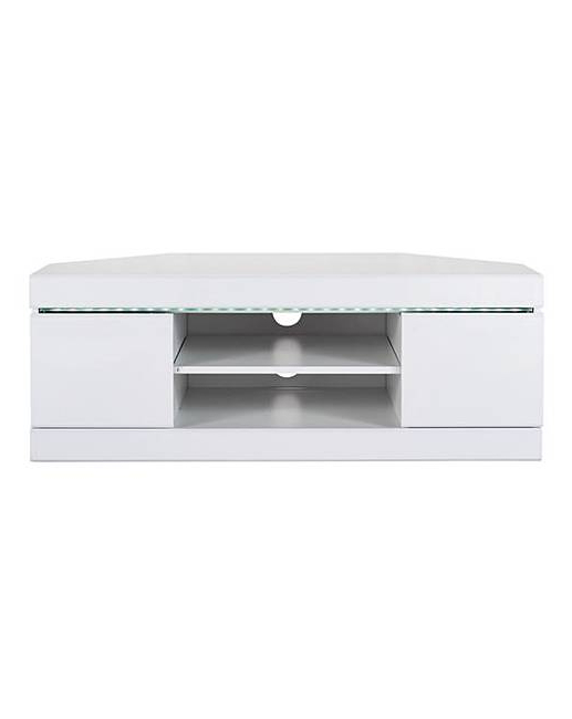 Well Known Corner Tv Unit White Gloss Intended For Halo High Gloss Corner Tv Unit (View 2 of 20)