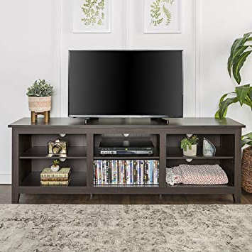 "Well Known Expresso Tv Stands Regarding Amazon: We Furniture 70"" Espresso Wood Tv Stand Console: Kitchen (View 19 of 20)"