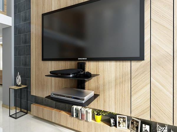 Well Known Fitueyes Tempered Glass Black 2 Tiers Floating Shelves Av Shelf Wall In Floating Glass Tv Stands (View 20 of 20)