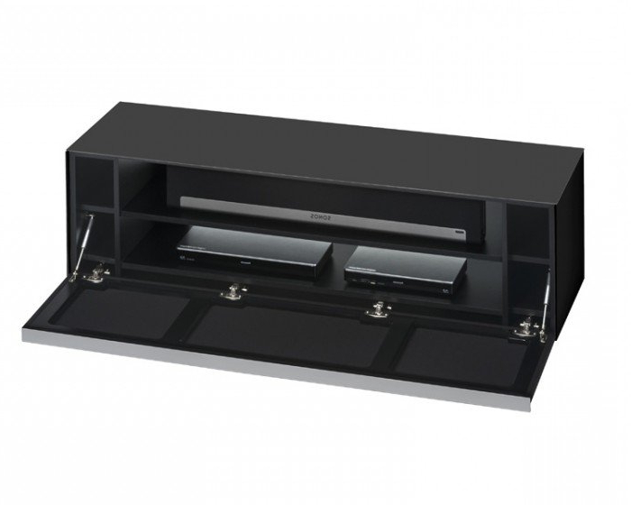 Well Known Glass Front Tv Stands In Maja Sound Concept 7736 4573 Matt Black Glass Tv Stand With Black (Gallery 1 of 20)
