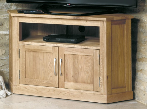 Well Known Henley Oak Corner Television Cabinet Within Oak Corner Tv Cabinets (View 17 of 20)