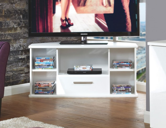 Well Known High Gloss Corner Tv Units Throughout Vista White High Gloss Corner Tv Unit (View 18 of 20)