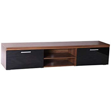 Well Known Homcom Wooden 2 Meter Long Modern Tv Cabinet 2 High Gloss Doors Throughout Walnut Tv Cabinets With Doors (View 8 of 20)