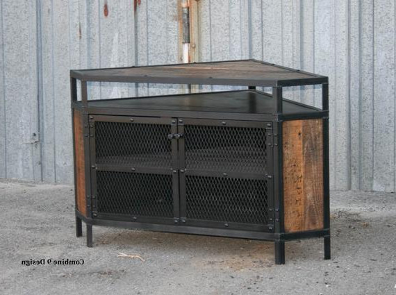 Well Known Industrial Corner Tv Stands Inside Industrial Corner Unit With Reclaimed Wood. Tv Stand. Urban (Gallery 3 of 20)