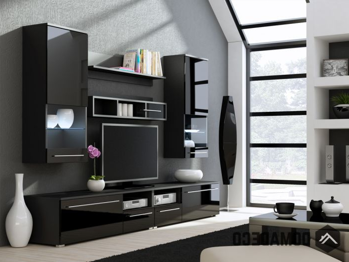 Well Known Kansas 3 – High Gloss Black Tv Wall Unit Pertaining To Black Gloss Tv Wall Units (View 20 of 20)