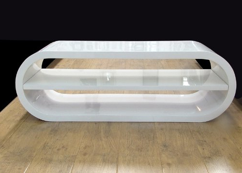 Well Known Large Oval Full Gloss White Tv Entertainment Unit Stand With Shelf Intended For White Gloss Oval Tv Stands (View 3 of 20)