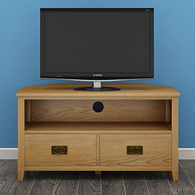 Well Known Light Oak Corner Tv Cabinets Intended For Padstow Painted Corner Tv Stand / Solid Wood Grey Painted Oak Tv (View 19 of 20)