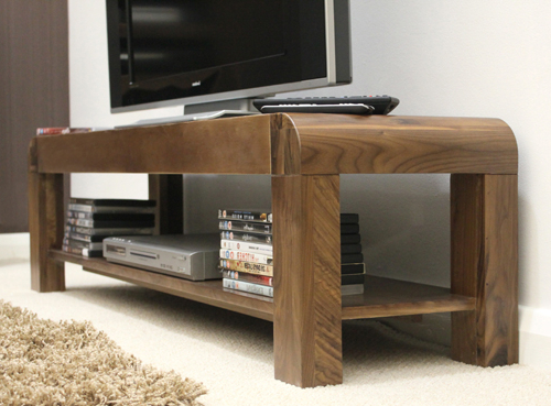 """Well Known Low Level Tv Storage Units With Regard To Shiro Walnut Low Tv Cabinet For Tv's Up To 72"""" Plus Storage For Dvds (View 3 of 20)"""