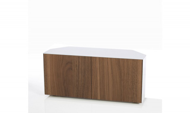 Well Known Marvel – 110Cm Corner Tv Cabinet In White High Gloss With Walnut Doors In White High Gloss Corner Tv Unit (View 10 of 20)