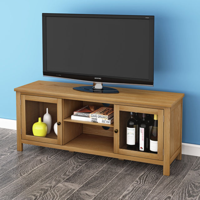 Well Known Modern Oak Large 120Cm Tv Unit Solid Wood Tv Stand Cabinet 2 Glass Pertaining To Wood Tv Stand With Glass (View 13 of 20)