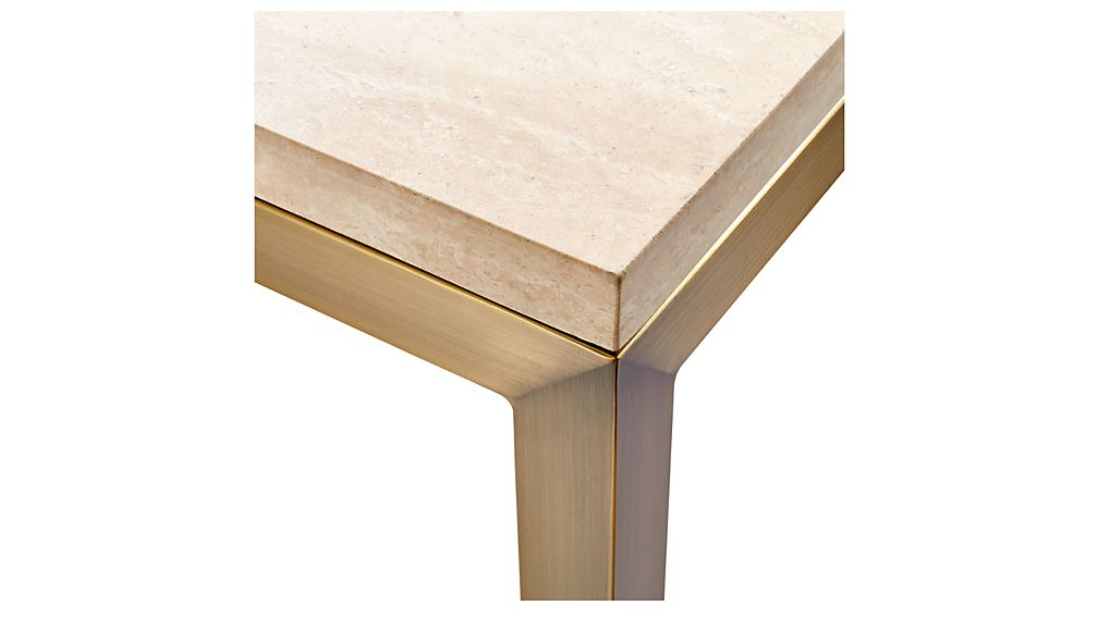 Well Known Parsons Travertine Top & Elm Base 48x16 Console Tables Regarding Parsons Travertine Top/ Brass Base 48x16 Console + Reviews (View 9 of 20)