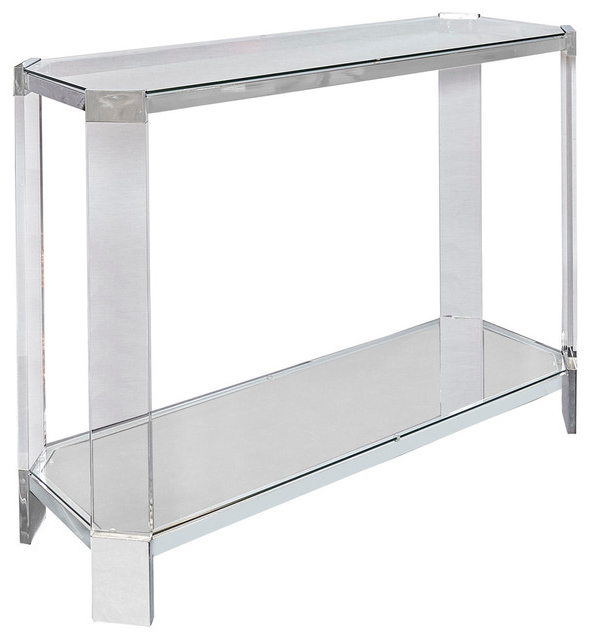 Well Known Powell Brahm Console Table, Chrome Metal – Contemporary – Console Inside Parsons White Marble Top & Stainless Steel Base 48X16 Console Tables (Gallery 20 of 20)