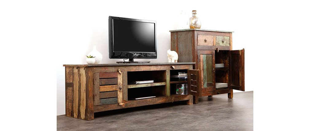 Well Known Recycled Wood Tv Stands Regarding Mayotte Recycled Wood Tv Stand – Miliboo (View 14 of 20)