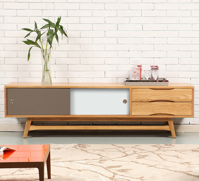 Well Known Scandinavian Tv Stands Throughout Svend Entertainment Unit – Solid Oak – 180x45x50cm – White/grey (View 2 of 20)