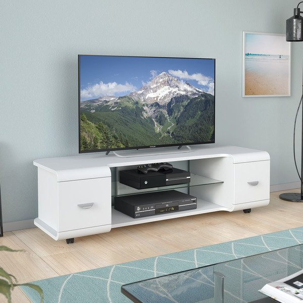 Well Known Shop Corliving Panorama Tv Stand With Casters, For Tvs Up To 65 Pertaining To Panorama Tv Stands (View 20 of 20)