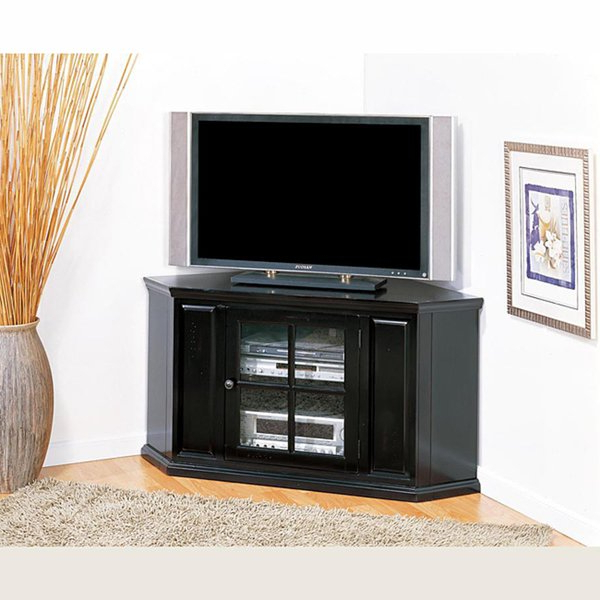 Well Known Shop Rubbed Black 46 Inch Corner Tv Stand & Media Console – Free With Corner Tv Stands For 46 Inch Flat Screen (View 12 of 20)
