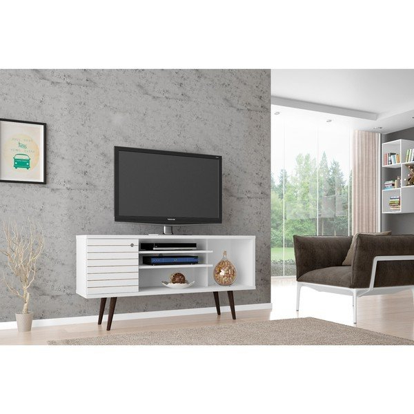 Well Known Single Shelf Tv Stands In Shop Manhattan Comfort Liberty Solid Wood Leg 5 Shelf Single Door Tv (Gallery 1 of 20)