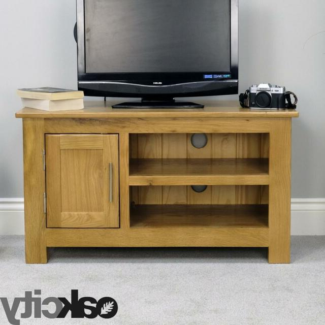 Well Known Solid Oakland Chunky Oak Tv Stand / Dvd Plasma Lcd Video Cabinet Regarding Chunky Oak Tv Units (View 19 of 20)