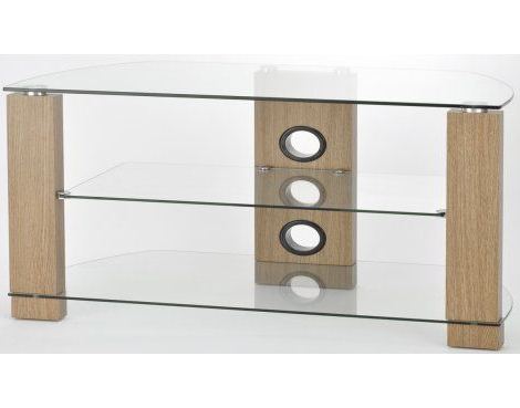 Well Known Tnw Vision 1050 Oak And Clear Glass Tv Stand (View 18 of 20)
