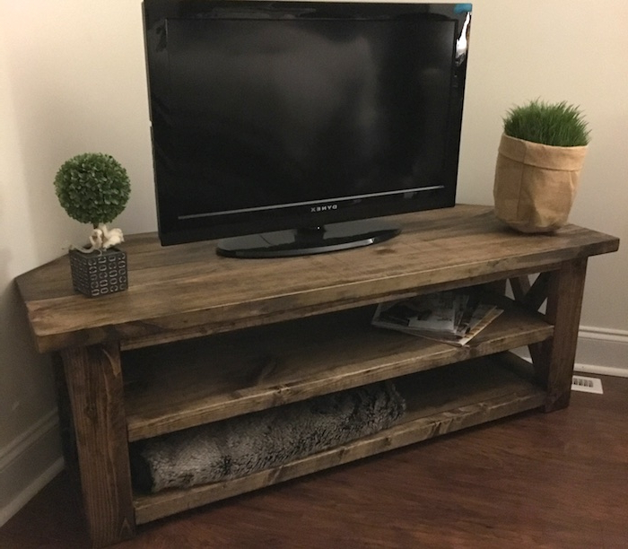 Well Known Triangular Tv Stands Throughout Diy Corner Media Center Plans – Rogue Engineer (View 3 of 20)