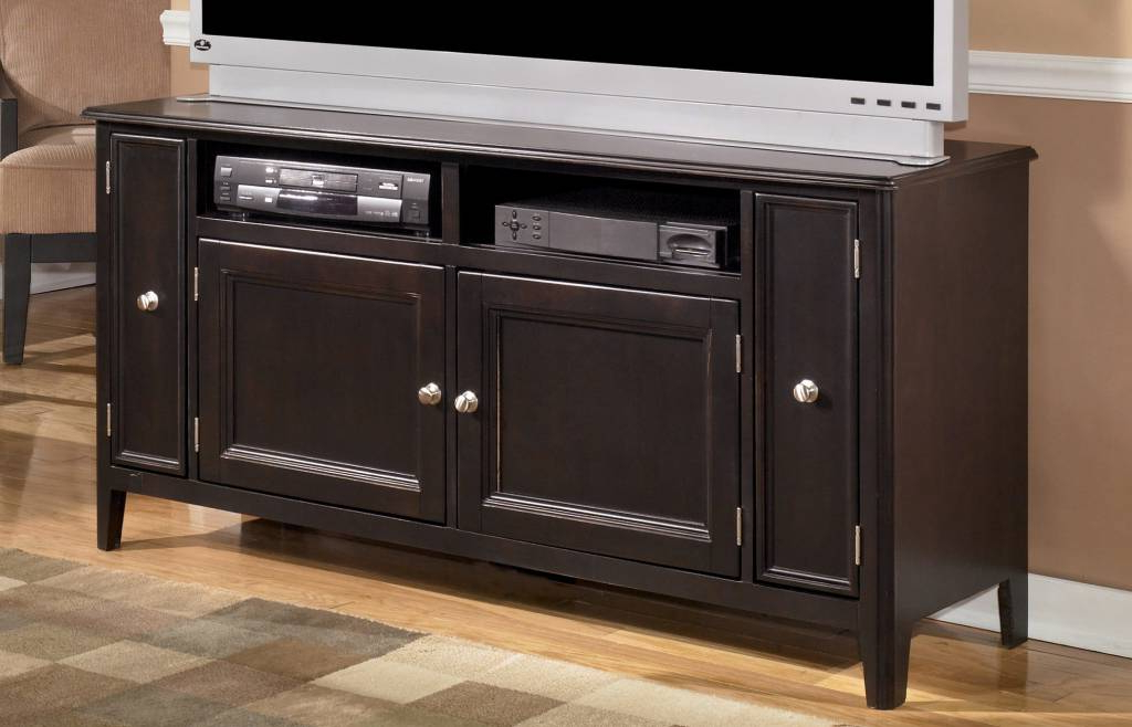 Well Known Tv Stands 38 Inches Wide Intended For Carlyle Large Tv Stand – Almost Black, W371 38 – Hvl Electronics (View 19 of 20)