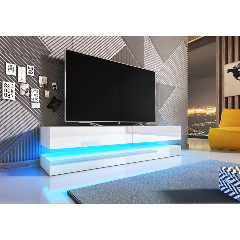 "Well Known Tv Stands With Led Lights Regarding Orren Ellis Bassilly Tv Stand For Tvs Up To 55"" With Led Lighting (View 19 of 20)"