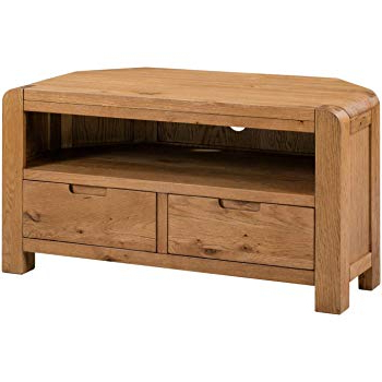 Well Known Tv Stands With Rounded Corners Pertaining To Lanner Oak Corner Tv Stand: Amazon.co (View 20 of 20)