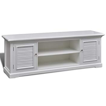 Well Known Vidaxl Modern Large White Wooden Tv Stand Cabinet Home Storage Regarding White Wood Tv Stands (View 11 of 20)