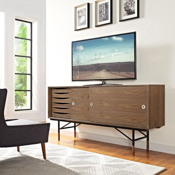 Well Known Walnut Tv Stands Pertaining To Shop Envoy Walnut Tv Stand – Free Shipping Today – Overstock (View 18 of 20)